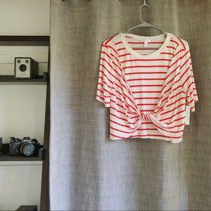 Nordstrom Abound Twist Front Striped T-Shirt